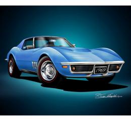 Corvette Fine Art Print By Danny Whitfield, 20x24, 427 Stingray Coupe, Lemans Blue, 1969