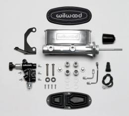 "Chevy Wilwood Master Cylinder Kit, Tandem, Ball Burnished Aluminum, with Bracket & Valve, 15/16"" Bore 1955-1957"