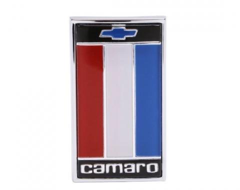 Trim Parts 75-77 Camaro Front Header Panel Emblem, Red, White, Blue, Each 6843