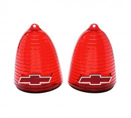 Trim Parts 55 Full-Size Chevrolet Red Tail Light Lens with Chrome Bowtie, Pair A1019C