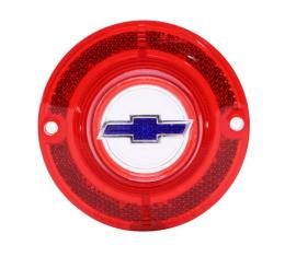 Trim Parts 62 Full-Size Chevrolet Red Back Up Light Lens with Blue Bowtie, Without Trim, Each A2160F