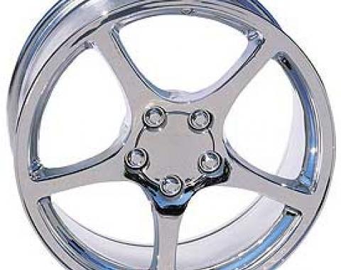 Corvette Wheels, 5-Spoke, Factory Style, Reproduction, Chrome, 2000-2004
