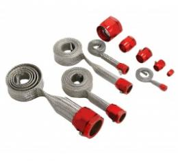 Corvette Hose Cover Kit, Universal, Stainless Steel, With Red Clamps
