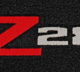 Camaro Floor Mats, 2 Piece Lloyd® Velourtex™, with Z28 Logo, Black Carpet, 1970-1974