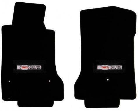 Corvette Floor Mats, 2 Piece Lloyd® Velourtex™, with Z06 405HP Emblem, Black Carpet, 1997-2004