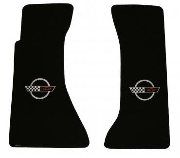Corvette Floor Mats, 2 Piece Lloyd® Velourtex™, with Silver Corvette Logo, Black Carpet, 1991-1996
