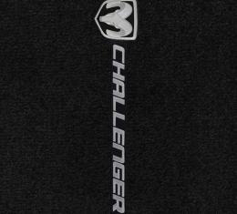 Challenger Floor Mats, 2 Piece Lloyd® Velourtex™, with Challenger Sideways, Black Carpet, 2008-2010