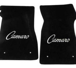 Camaro Floor Mats, 2 Piece Lloyd® Velourtex™, with Camaro Script in Silver, Black Carpet, 1967-1969