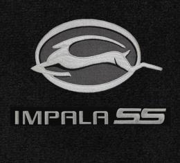Impala Floor Mats, 2 Piece Lloyd® Velourtex™, with Impala Deer & SS Logo, Ebony Carpet, 2006-2013