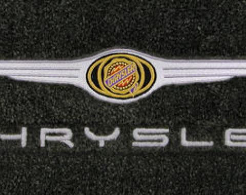 Chrysler 300 Floor Mats, 2 Piece Lloyd® Velourtex™, with Chrysler Logo & Word in Red, Black Carpet, 2005-2010
