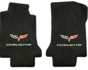 Corvette Floor Mats, 2 Piece Lloyd® Velourtex™, with Silver Corvette Flags & Script, Ebony Carpet, 2005-2007 Early