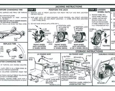 Chevy Or GMC Truck Jacking Instruction Decal, 1985-1986