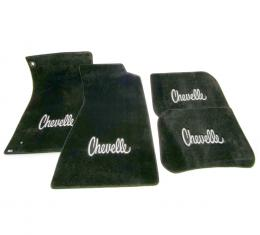 Chevelle Floor Mats, 4 Piece Lloyd® Ultimat™ , with Silver Chevelle Embroidery, Black, 1968-1972