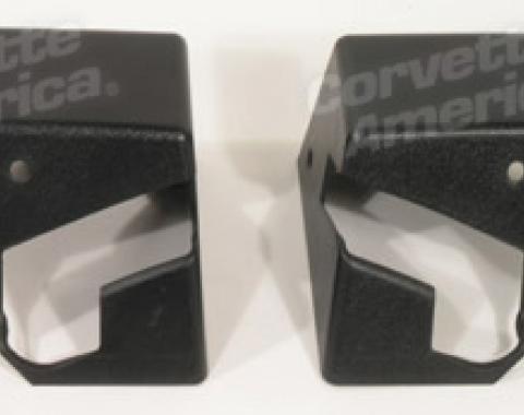 Corvette Top Storage Bracket Covers, Black, 1984-1985