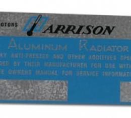 Corvette Plate, Harrison Radiator Metal, 1960-1962