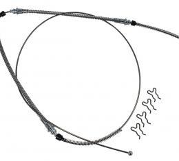 Corvette Parking Brake Cable, Rear, Stainless Steel, 1965-1982