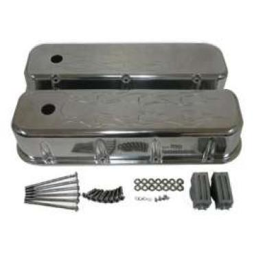 Chevy Big Block Valve Covers, Flamed Polished Aluminum, 1955-1957