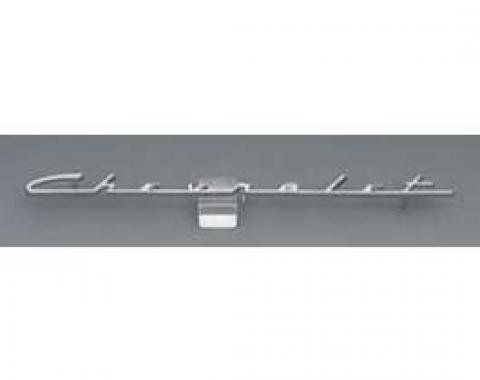 Chevy Speaker Script Emblem, With Chevrolet Word, 150, 120, 1955-1956