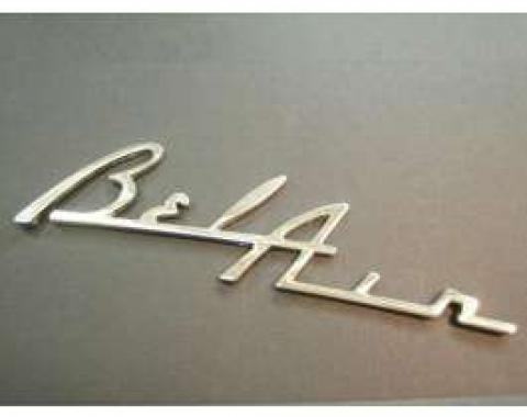 Chevy Speaker Script Emblem, Bel Air, Chrome, 1955-1956