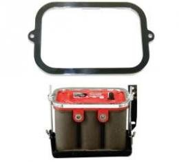 Chevy Battery Hold Down Retainer, Polished Billet Aluminum, Optima, 1955-1956