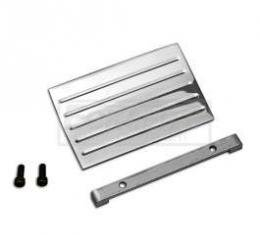 Chevy Clock Block-Off Plate, Polished Aluminum With Ribs, 1957