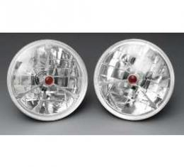 Chevy Headlights, Tri-Bar H-4 Halogen, Red Dot, 1955-1957