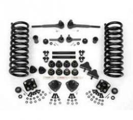 Chevy Front End Rebuild Kit, Except Original Power Steering, With Urethane Bushings & 2 Lowering Springs, 1955-1957