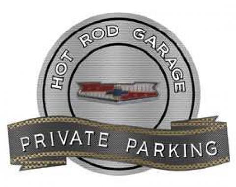 Chevy Tri-5 Emblem Hot Rod Garage Private Parking Metal Sign, 18 X 14