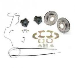 Chevy Rear Disc Brake Kit, 9 Ford Rear End, Drilled & Sweep Slotted Rotors, 1955-1957