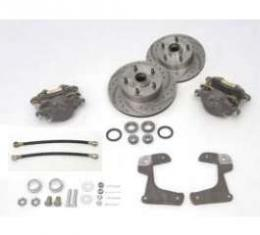 Chevy Disc Brake Kit, Front, At Spindle, With Drilled & Sweep Slotted Rotors, 1955-1957