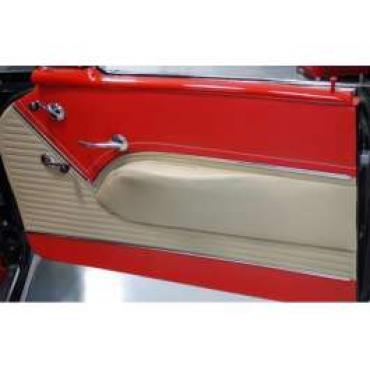 Chevy Preassembled Door Panels With Armrests Installed, Bel Air 2-Door Hardtop, 1955