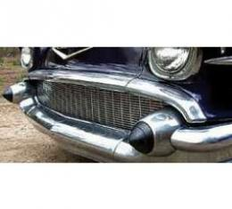 Chevy Custom Grille, Polished Aluminum, With Parking Light Brackets, 1957