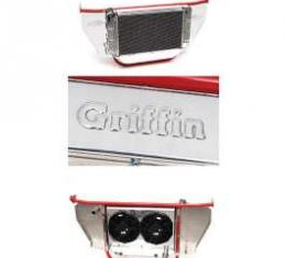 Chevy Cross-Flow Radiator Kit, With Core Support & Stainless Steel Bowtie Filler Panels, Polished, 1957