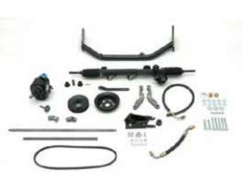 Chevy Rack & Pinion Steering Kit, Mega, With Stock Steering Column, Small Block, 1955-1957