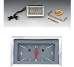Chevy Classic Instruments Clock, With Gray Face & White Numbers & Red Needles, 1957