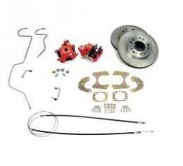 Chevy Rear Disc Brake Kit, With Red Powder Coated Calipers, For Use With 9 Ford Rear End, 1955-1957