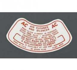 Chevy Air Cleaner Decal, 1955 V8 2-Barrel & 1955-1957 6-Cylinder