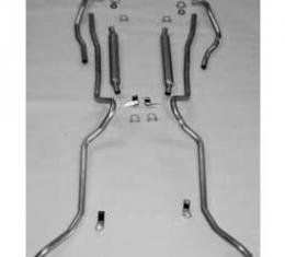 Chevy Aluminized Dual Glasspack 2 Exhaust System, Small Block, Use With Rams Manifolds, Convertible, 1955-1957