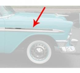 Chevy Front Fender Molding, Bel Air, Left Lower Or Right Upper, Show Quality, 1956
