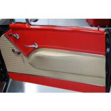 Chevy Preassembled Door Panels With Armrests Installed, Bel Air 4-Door Station Wagon, 1955