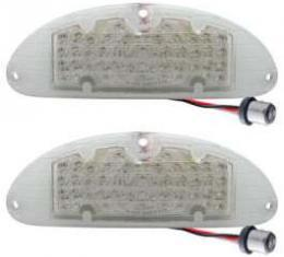 Chevy LED Parking Lights, Front, Plug-In, With Clear Lenses, 1955