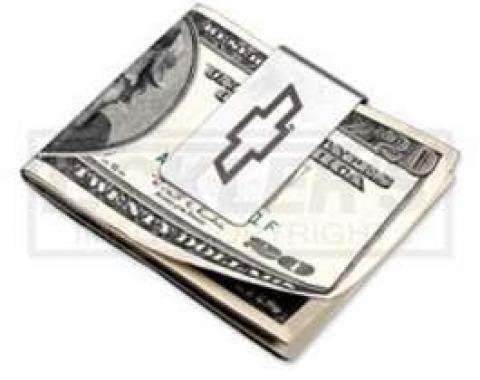 Silver Money Clip, With Etched Chevy Bowtie, Zippo