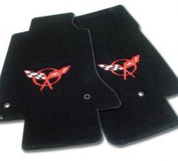 Corvette Mats, Velourtex Black with C5 Red, 1997-2004