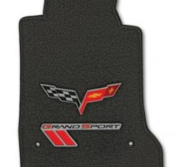 Corvette Mats Grand Sport Ebony with Dbl Logo, 2010-2011