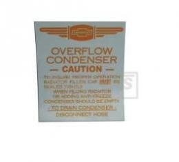 Chevy Radiator Overflow Tank Decal, 1949-1954