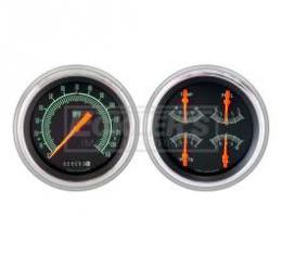 Early Chevy Classic Instruments G Stock Series Analog Gauge Kit, Five Inch, Black With Orange Pointers, 1951-1952