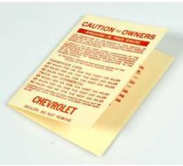 Chevy Engine Break-In Folder, 1953-1954