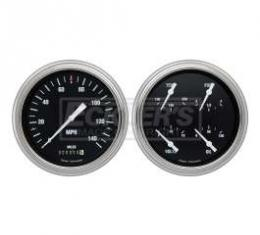 Early Chevy Classic Instruments Hot Rod Series Analog Gauge Kit, Five Inch, Black Face With White Pointers, 1951-1952