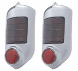 Chevy Taillight Assemblies, Complete, With Chrome Bezels, 1951-1952