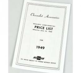 Chevy Price List Booklet, Accessory, New Car, 1949
